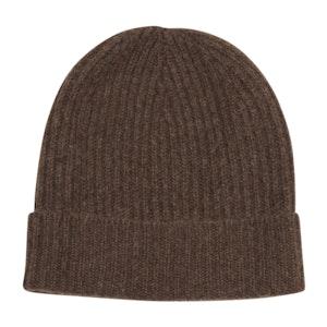 Chocolate Brown Cashmere Knit Beanie Hat