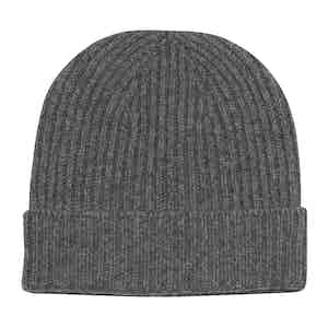 Grey Cashmere Knit Beanie Hat