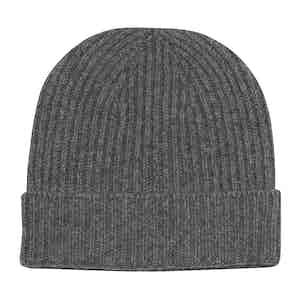 Grey Cashmere Knit Beanie Hat