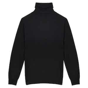 Black Cashmere Roll Neck Sweater