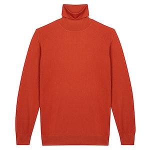 Orange Cashmere Roll Neck Sweater