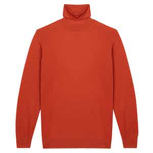 Orange Cashmere Roll Neck Sweater