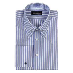 Blue Striped White Cotton Pin Collar Shirt