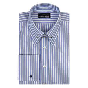 Blue Striped White Cotton Pin Collar Shirt