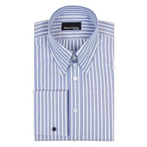 White Striped Blue Cotton Tab Collar Shirt
