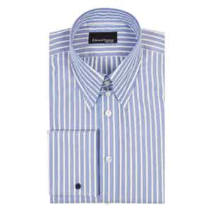 White Striped Blue Cotton Tab Collar Shirt