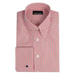 Red and White Striped Cotton Pin Collar Shirt