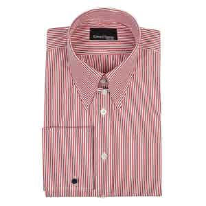 Red and White Striped Cotton Tab Collar Shirt