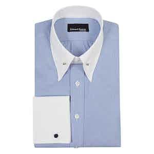 Blue Micro Check Cotton Pin Collar Shirt