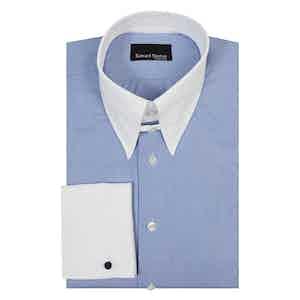 Blue Micro Check Cotton Tab Collar Shirt