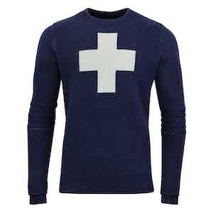 Navy Cross-Detailed Lambswool Ski Patrol Sweater