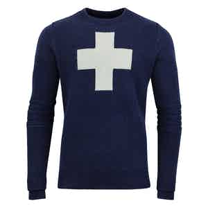Navy Cross-Detailed Lambswool Ski Patrol Sweater