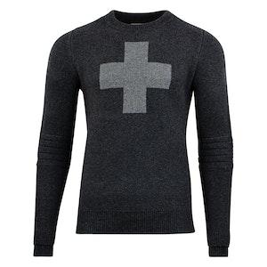 Charcoal Cross-Detailed Lambswool Ski Patrol Sweater