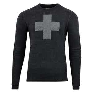 Charcoal Cross-Detailed Lambswool Ski Patrol Sweater