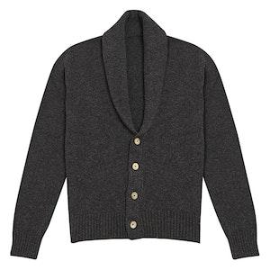 Charcoal Grey Lambswool Shawl Collar Cardigan