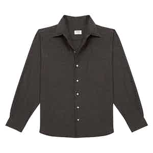 Slate Grey Cotton Shirt with Cutaway Collar