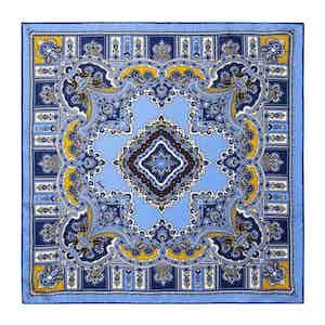 Coffee Light Blue Silk Barolo Pocket Square