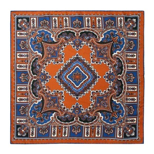Leather Orange and Royal Blue Silk Barolo Pocket Square