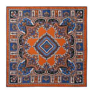 Leather Orange and Royal Blue Silk Barolo Pocket Square