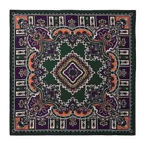Pepper Green and Purple Silk Barolo Pocket Square