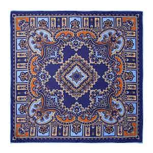 Licorice Blue Silk Barolo Pocket Square