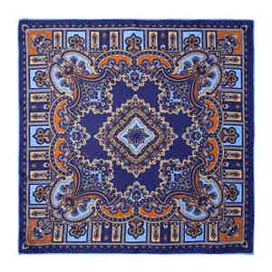 Licorice Blue Silk Barolo Pocket Square