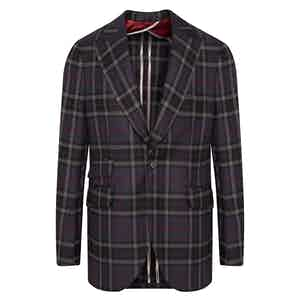 Blue, Grey and Red Tartan Wool Jacket