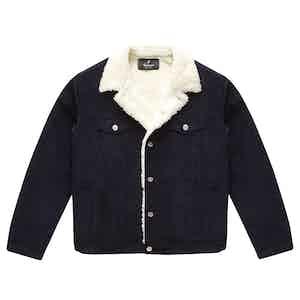Blue Corduroy Shearling-Lined Bud Trucker Jacket