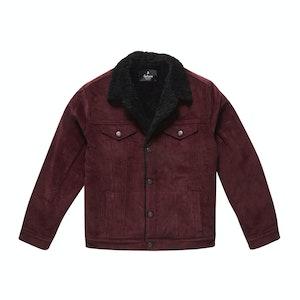 Burgundy Corduroy Black Shearling-Lined Bud Trucker Jacket