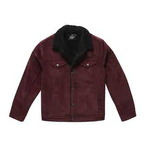 Burgundy Corduroy Black Shearling-Lined Bud Trucker Jacket