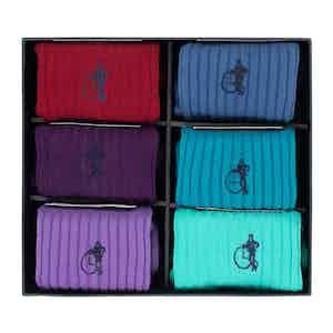 Brave New World Gift Set of 6 Scottish Lisle Cotton Socks, Various Colours