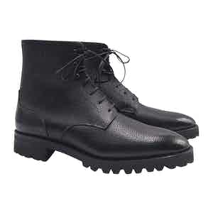Black Pebble-Grain Calfskin Derby Combat Boots
