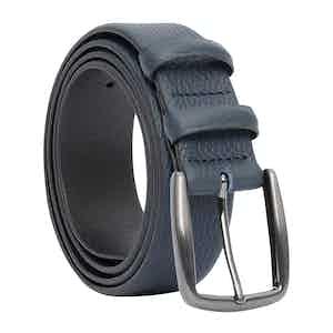 Blue Classic Leather Belt Gaston