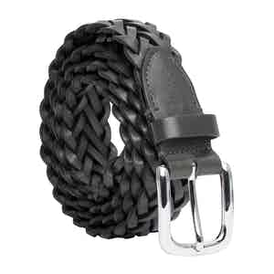 Grey Hand-Braided Leather Belt Nicol