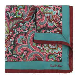 Green, Pink and Burgundy Ombré Grand Tour Silk Pocket Square