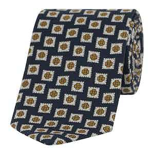 Navy Diamond Tile Print Madder Tie