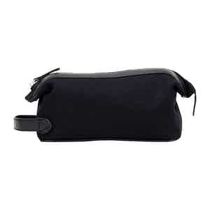 Black Cotton Canvas and Leather Washbag