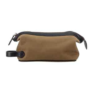 Khaki Cotton Canvas and Leather Washbag