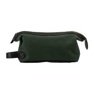 Green Cotton Canvas and Leather Washbag