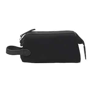 Black Cotton Canvas and Leather Small Washbag
