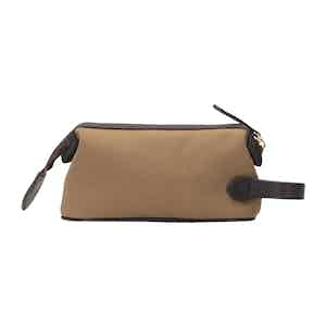Khaki Cotton Canvas and Leather Small Washbag