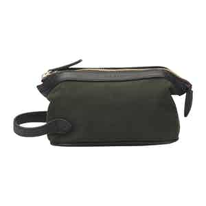 Green Cotton Canvas and Leather Small Washbag