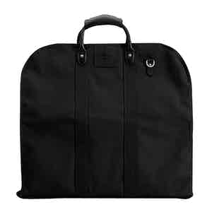 Black Cotton Canvas and Leather Garment Bag