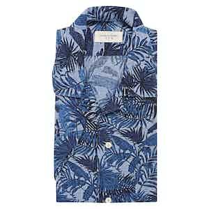 Twilight Blue Tropical Print Cotton-Linen Shirt