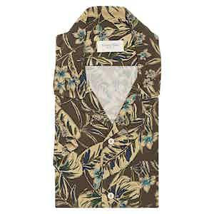 Brown and Sepia Tropical Print Viscose Shirt