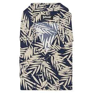 Navy Leaf Print Viscose Venice Beach Shirt