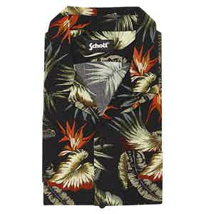 Black Tropical Print Viscose Venice Beach Shirt