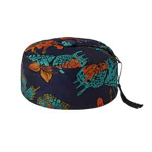 Navy Butterfly Print Silk Smoking Hat