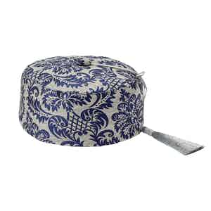 Navy Renaissance-Print Silk Smoking Hat