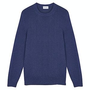 Yale Blue Soft Bourette Silk Seamless Crew Neck Sweater